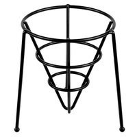 GET 4-33888 5 inch Black Wrought Iron Stackable Cone Basket with Teflon® Coating