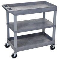 Luxor EC121-G Gray 2 Tub and 1 Flat Shelf Utility Cart - 32 inch x 18 inch