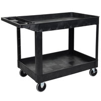 Luxor XLC11-B Black 2 Tub Shelf Utility Cart - 45 1/2 inch x 24 1/2 inch