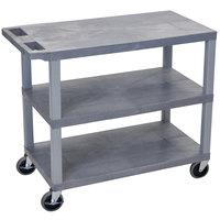 Luxor EC222-G Gray 3 Flat Shelf Utility Cart - 32 inch x 18 inch
