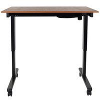 Luxor STANDE-48-BK/TK Electric Stand Up Desk with Black Frame and Teak Desktop - 48 inch