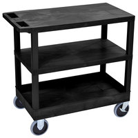 Luxor EC221HD-B Black 1 Tub and 2 Flat Shelf Utility Cart - 32 inch x 18 inch