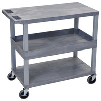Luxor EC212-G Gray 1 Tub and 2 Flat Shelf Utility Cart - 32 inch x 18 inch