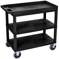 Luxor EC122HD-B Black 1 Tub and 2 Flat Shelf Heavy-Duty Utility Cart - 32 inch x 18 inch
