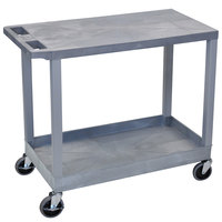Luxor EC21-G Gray 1 Tub and 1 Flat Shelf Utility Cart - 32 inch x 18 inch