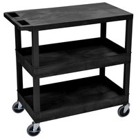 Luxor / H. Wilson EC211-B Black 2 Tub and 1 Flat Shelf Utility Cart - 32 inch x 18 inch