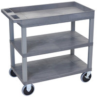 Luxor / H. Wilson EC122HD-G Gray 1 Tub and 2 Flat Shelf Heavy-Duty Utility Cart - 32 inch x 18 inch