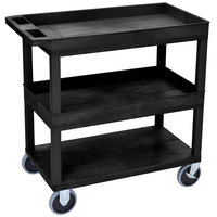 Luxor EC112HD-B Black 2 Tub and 1 Flat Shelf Heavy-Duty Utility Cart - 32 inch x 18 inch