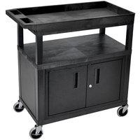 Luxor EC122C-B Black One Cabinet, One Tub, and One Flat Shelf Utility Cart - 18 inch x 35 1/4 inch x 38 1/2 inch