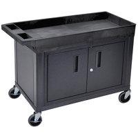 Luxor EC12C-B Black 1 Tub, 1 Cabinet Utility Cart - 32 inch x 18 inch
