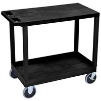 Luxor EC21HD-B Black 1 Tub and 1 Flat Shelf Heavy-Duty Utility Cart - 32 inch x 18 inch