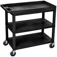 Luxor EC122-B Black 1 Tub and 2 Flat Shelf Utility Cart - 32 inch x 18 inch