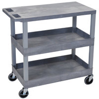 Luxor / H. Wilson EC211-G Gray 2 Tub and 1 Flat Shelf Utility Cart - 32 inch x 18 inch