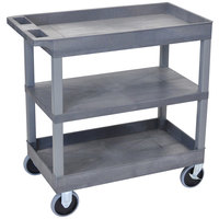 Luxor EC121HD-G Grey Heavy-Duty 2 Tub and 1 Flat Shelf Utility Cart - 32 inch x 18 inch