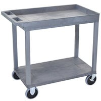 Luxor EC12HD-G Gray 1 Tub and 1 Flat Shelf Utility Cart - 32 inch x 18 inch