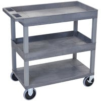 Luxor EC112HD-G Gray 2 Tub and 1 Flat Shelf Heavy-Duty Utility Cart - 32 inch x 18 inch
