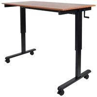 Luxor STANDCF60-BK/TK Stand Up Desk with Black Steel Frame and Teak Desktop - 60 inch