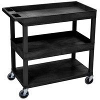 Luxor EC112-B Black 2 Tub and 1 Flat Bottom Shelf Utility Cart - 32 inch x 18 inch