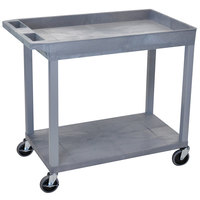 Luxor / H. Wilson EC12-G Gray 1 Tub and 1 Flat Shelf Utility Cart - 32 inch x 18 inch