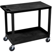 Luxor EC21-B Black 1 Tub and 1 Flat Shelf Utility Cart - 32 inch x 18 inch