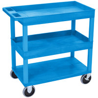 Luxor EC112HD-BU Blue 2 Tub and 1 Flat Shelf Heavy-Duty Utility Cart - 32 inch x 18 inch