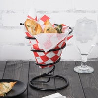 Clipper Mill by GET 4-32805 7 inch Black Wrought Iron Spiral Cone Basket with Plastic Coating