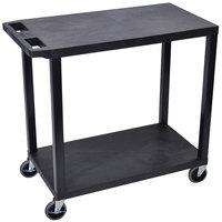 Luxor EC22-B Black 2 Flat Shelf Utility Cart - 32 inch x 18 inch