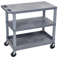 Luxor EC221-G Gray 1 Tub and 2 Flat Shelf Utility Cart - 32 inch x 18 inch
