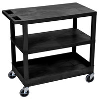 Luxor EC221-B Black 1 Tub and 2 Flat Shelf Utility Cart - 32 inch x 18 inch