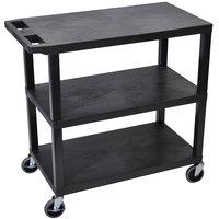 Luxor EC222-B Black 3 Flat Shelf Utility Cart - 32 inch x 18 inch