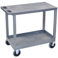 Luxor EC21HD-G Gray 1 Tub and 1 Flat Shelf Heavy-Duty Utility Cart - 32 inch x 18 inch