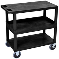 Luxor EC212HD-B Black 1 Tub and 2 Flat Shelf Utility Cart - 32 inch x 18 inch