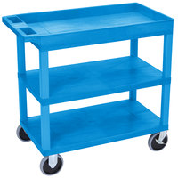 Luxor EC122HD-BU Blue 1 Tub and 2 Flat Shelf Heavy-Duty Utility Cart - 32 inch x 18 inch