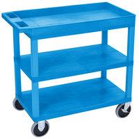 Luxor EC122HD-BU Blue One Tub and Two Flat Shelf Heavy-Duty Utility Cart - 18 inch x 35 1/4 inch x 35 1/2 inch