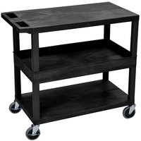 Luxor EC212-B Black 1 Tub and 2 Flat Shelf Utility Cart - 32 inch x 18 inch