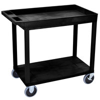 Luxor EC12HD-B Black 1 Tub and 1 Flat Shelf Utility Cart - 32 inch x 18 inch