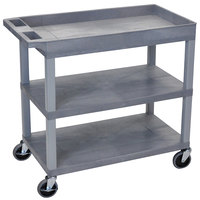 Luxor / H. Wilson EC122-G Gray 1 Tub and 2 Flat Shelf Utility Cart - 32 inch x 18 inch