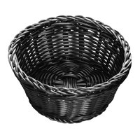 Tablecraft M2477 Black Round Rattan Basket 7 inch x 3 1/4 inch