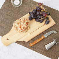 3 Piece Semi-Hard Wood Handled Cheese Knife and Board Set with Button Clincher