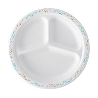 Huhtamaki Chinet 22524 10 1/4 inch 3-Compartment Molded Fiber Round Plate with Vines Design - 125/Pack