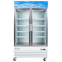Avantco GDC-40-HC 48 inch White Swing Glass Door Merchandiser Refrigerator with LED Lighting - 28 cu. ft.