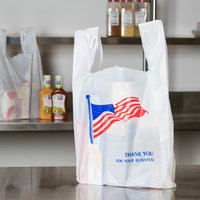 1/6 Size .71 Mil White American Flag Heavy-Duty Plastic T-Shirt Bag - 500/Case