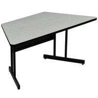 Correll WS3060MTR EconoLine 30 inch x 60 inch Trapezoid Gray Granite Melamine Top Desk Height Computer and Training Table