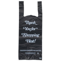 .98 Mil Black Italic Thank You Heavy-Duty Plastic Liquor Bag - 1000/Case