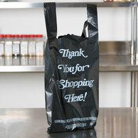 .98 Mil Black Italic Thank You Heavy-Duty Plastic Liquor Bag - 1000/Case