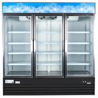 """Avantco GDC-69-HC 78 1/4"""" Black Swing Glass Door Merchandiser Refrigerator with LED Lighting"""