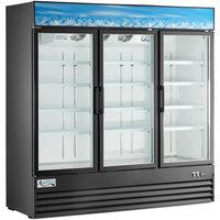 Avantco GDC-69-HC 78 1/4 inch Black Swing Glass Door Merchandiser Refrigerator with LED Lighting