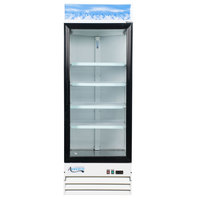 Avantco GDC-23-HC 28 3/8 inch White Swing Glass Door Merchandiser Refrigerator with LED Lighting - 23 Cu. Ft.