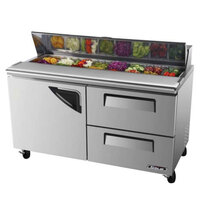 Turbo Air TST-60SD-D2 60 inch Super Deluxe Refrigerated Salad / Sandwich Prep Table with One Door and Two Drawers