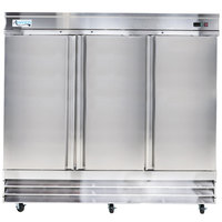 Avantco SS-3F-HC 80 7/8 inch Solid Door Reach-In Freezer
